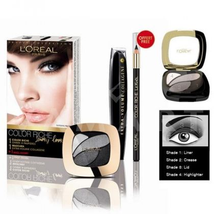 L'Oreal Paris Color Riche Smoky Look Комплект Extra Volume Mascara + Colour Rich Eyeshadow + Kajal
