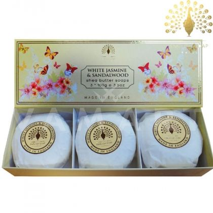 The English Soap Company Luxury Gift White Jasmine & Sandalwood Луксозни сапуни 3х100g