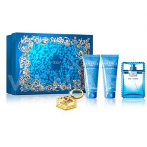 Versace Man Eau Fraiche Eau De Toilette 100ml + Bath & Shower Gel 100ml + Aftershave Balm 100ml + Ключодържател мъжки комплект