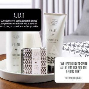 Scottish Fine Soaps Au Lait Козметичен комплект 4 продукта и гъба за баня