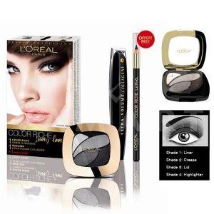 L'Oreal Paris Color Riche Smoky Look Комплект Extra Volume Mascara + Colour Rich Eyeshadow + Kajal