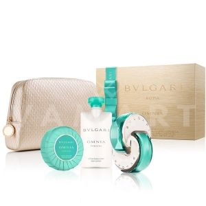 Bvlgari Omnia Paraiba Eau de Toilette 65ml + Body Lotion 75ml + Soap 75g + Златен несесер дамски комплект