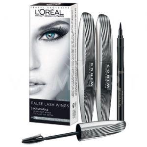 Спирала L'Oreal Paris False Lash Wings Mascara Black 2x7ml + Eye Liner Super Liner Perfect Slim 6 ml Intense Black